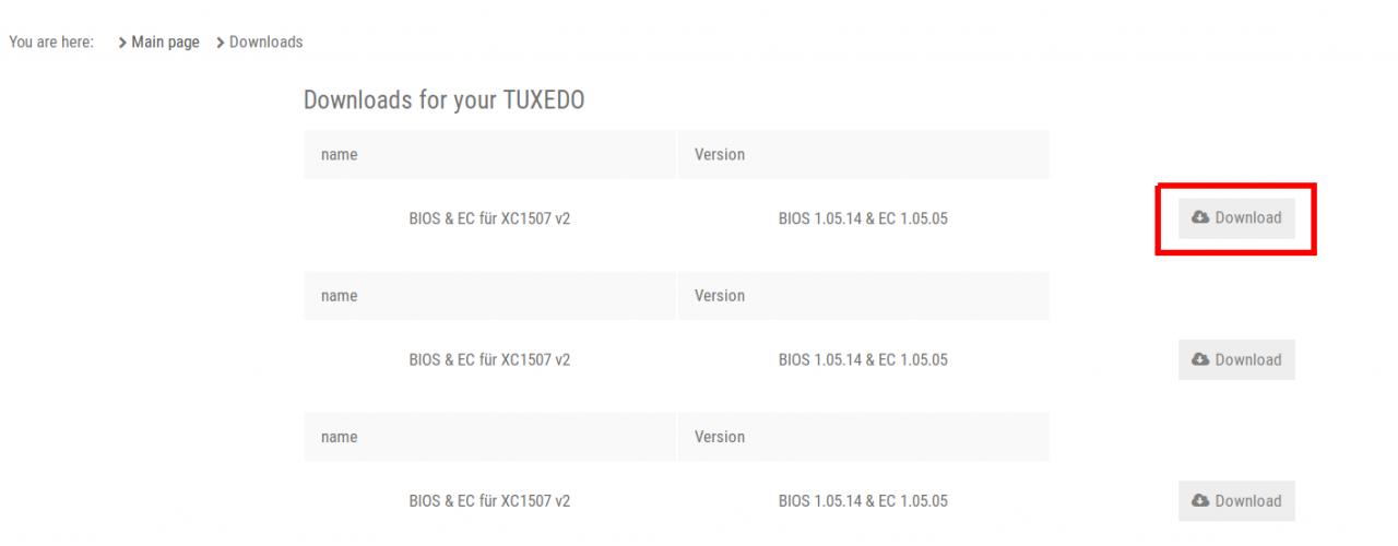 BIOS files in your customer account - TUXEDO Computers