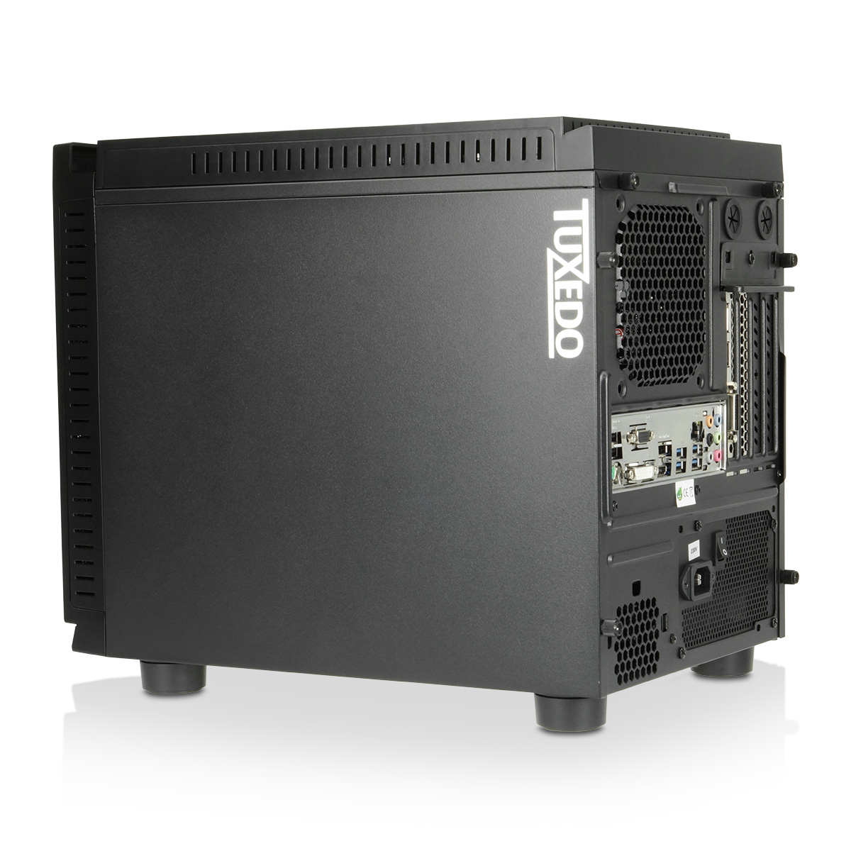 Tuxedo Cube V8 Intel Core Series High End Cpus Opt Nvidia Logo Stiker Amd Energy Star Windows Geforce